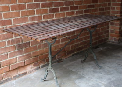 Wooden table with cast iron legs F11/1 | H: 758mm L:  649mm W: 696mm