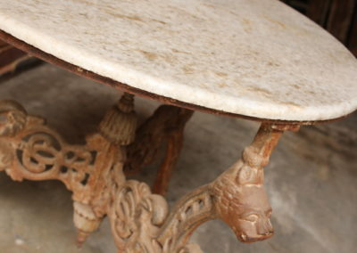 Wrought iron round table with marble top F21/1 | H: 785mm L: 800mm